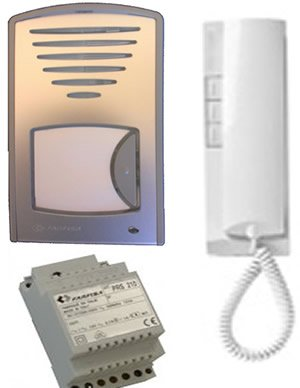 O9M - FARFISA 1UPS DOOR ENTRY AUDIO INTERCOM 1-WAY SYSTEM WITH INTERNAL STATION, MOUNTED DOOR STATION & POWER SUPPLY