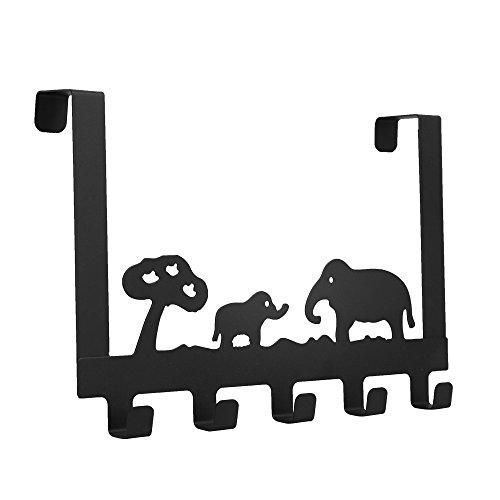 hängeleiste Türgarderobe über die Tür 5 Haken Lagerregal Kleiderbügel Elefant Dekorative Schwere Organizer für Mäntel, Hüte, Roben, Handtücher 30 x 20.5 x 4.7cm (Schwarz) ()