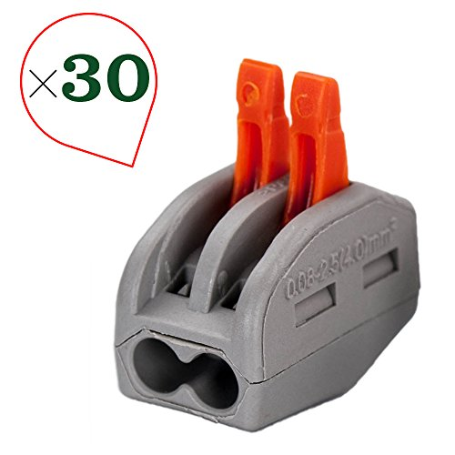 OxoxO 2 Port Lever-Nut Lever Conductor Compact Wire Connectors PCT-212 Terminal Block Wire Push Cable Connector (30 Pack, 2 Port) - 30k Compact