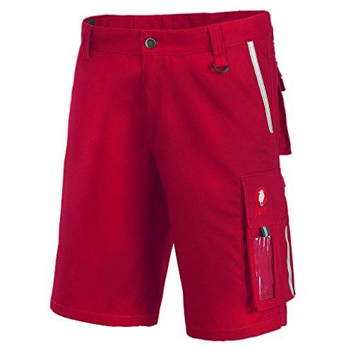 Krähe Kurze Arbeitshose Canvas Pro Herren – Robust & Bequem, Sommer Geeignet, 8 vielfältige Taschen in Rot Größe 50