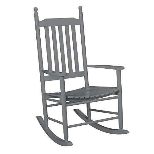 [casa.pro] Schaukelstuhl Grau aus Massiv-Holz - Hochwertiger Relax-Stuhl mit Armlehne zur Entspannung oder als Still-Stuhl - Schwing-Sessel Schaukel-Sessel für Wohnzimmer Küche Balkon Garten