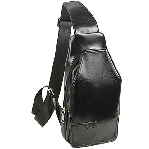 Bolsa de Deporte Para Hombre, Diseño de Bolso de Hombro Bolso Bandolera Ajustable. Negro (Black) Talla:talla única