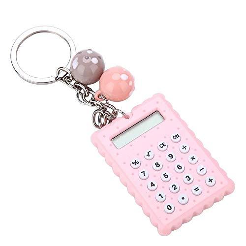 Schlüsselbund Mini-Rechner, tragbare Tasche Candy Farbe PVC 8-stelligen elektronischen Taschenrechner mit Silikonknöpfen und Schlüsselbund Schnalle for Kinder Studenten (Pink) Schlüsselring für Männer