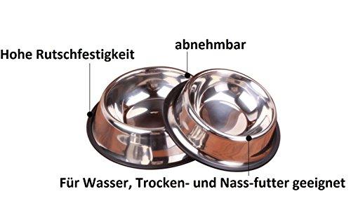 Edelstahl Futternapf Wassernapf Edelstahlnapf Hunde Katze Napf Fressnapf M-XL (XL-26cm) - 3