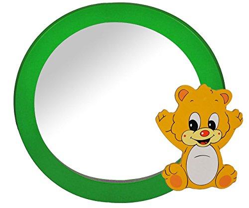 2 in 1: runder Bilderrahmen + Spiegel / Wandspiegel aus massiven Holz - Teddy / Teddybär in grün - Kinderzimmer - Tiere - für Kinder die Wand - Tier - Mädchen Jungen grüner Bär Honigbär Bilder Rahmen