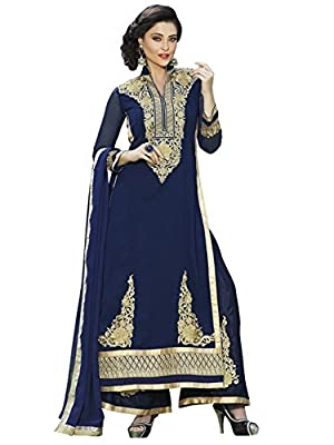 Vibes Women`s Georgette Un-Stitched Dress Material ( Blue_V273-10041 ) - Blue Ceremony Wear Collection from Vibes