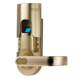 Assa Abloy Digi Electronic Biometric Fingerprint Keypad Password Home Door Lock 6600-86 (Intersected Gold Right handle)