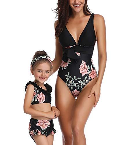 Glückliche Käufer Damen mädchen Diverse Badeanzug Raffung Einteiler High Neck Raffung Halter Bikini Set, Mutter Tochter Familie Set Bademode, Alter 5-6, 5