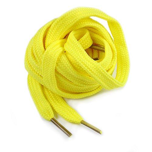 Ganzoo Schnür-Senkel flach, 120 cm, Senkel, Schuh-Bändel für Arbeitsschuhe, Sneaker, Wander-Stiefel (5 Paar, gelb)