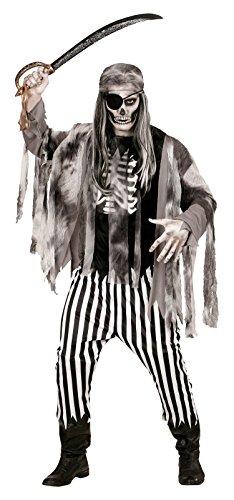 Für Erwachsene Skelett Zombie Kostüme (Widmann 05814 - Erwachsenenkostüm Geisterschiff Pirat, Shirt mit Rippenaufdruck, Jacke, Hose und Bandana, Größe XL,)
