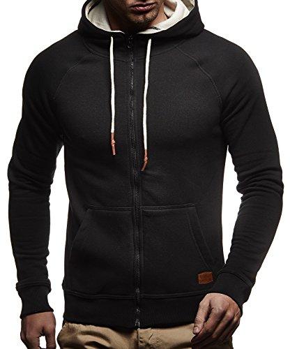 Shirt-jacke (LEIF NELSON Herren Sweatjacke Kapuzenpullover Hoodie Pullover Jacke Sweatjacke Sweatshirt Longsleeve T-Shirt Langarm LN8124; Grš§e M, Schwarz)