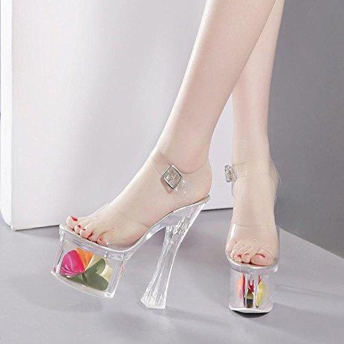 GTVERNH-trasparente spesso con i tacchi alti con un cristallo fiore sandali clienti 18cm scarpe sandali.,trentaquattro Thirty-four