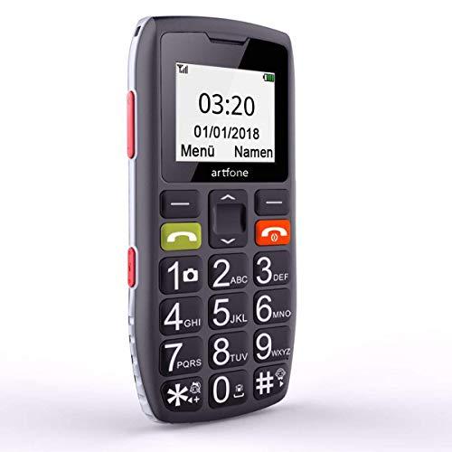 Artfone C1 GSM Mobiltelefon Mit Großen Tasten, Senioren Handys Ohne Vertrag, 1,77-Zoll-Display, SOS Taste, Kurzwahl Und Taschenlampe