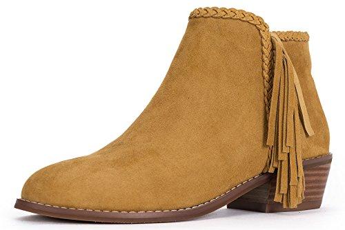 OZZEG faible talon cheville bottes femmes en cuir doublure chaude chaussures hiver en fourrure Brun