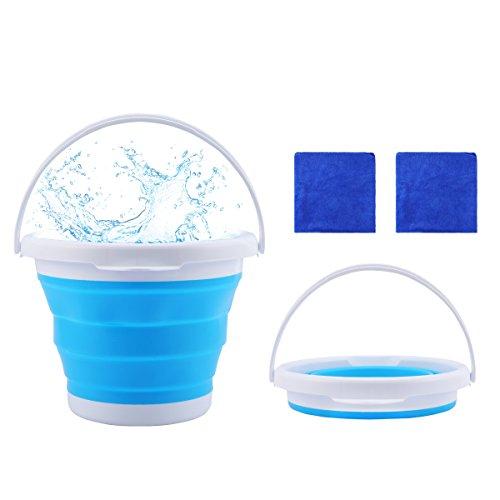 Eimer,LANMU Eimer Faltbar,5 Liter Wasser Eimer ohne Deckel für Camping/Angeln/Reinigung/Autowäsche/Haushalt/Urlaub mit 2 Handtuch