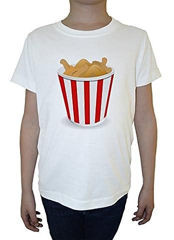 Frit Poulet Garçon Enfants T-shirt Cou D'équipage Blanc Coton Manches
