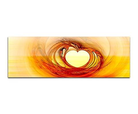 Abstrakte Bilder 150x50cm Liebe Herz gelb rot Abstrakt202 Kunstdrucke auf Leinwand fertig bespannt Panoramaformat
