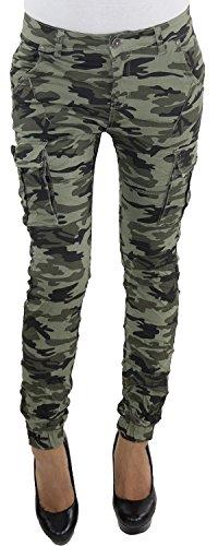 Damen Boyfriend Baggy Armee Camo Army Jeans Hüft Trainload Camouflage Harems Hose F6208 M/38