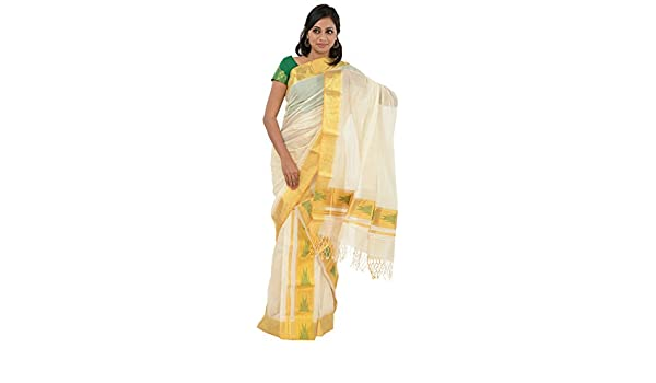 Hantex Women's Kerala Set Saree with Blouse Piece (HMSO-8_Off white
