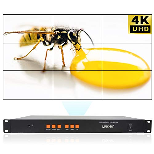 LINK-MI 3x3 4K HDMI DP Video Wall Controller for 9 LCD TV Wall Support  1x2,1x3,2x3,3x3 and 3840x2160@60Hz UHD Splicing Processor