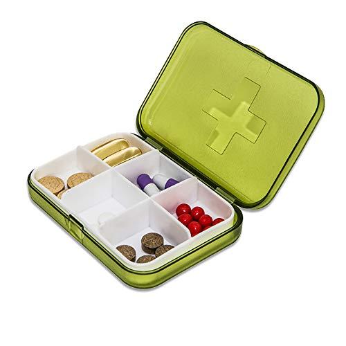Pillendose 7 Tage,SPEUTO Divided Vitamin Box-Medikamentenhalter für tägliche und Reise-Use-6 Fächer-Grün -