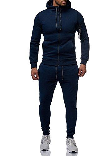 Herren Sportanzug Basic Squad Anzug Jogginganzug Jacke Hose Blau L