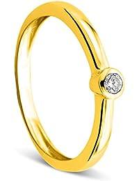Orovi Damen Verlobungsring Gold Solitärring Diamantring 9 Karat (375) Brillanten 0.07crt Gelbgold Ring mit Diamanten