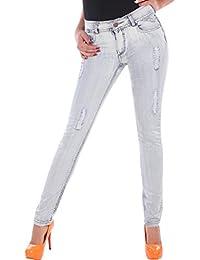 BD Damen Jeans Röhrenjeans Hose Stretch in hellblau mit Ziernähten und Rissen bis Übergröße