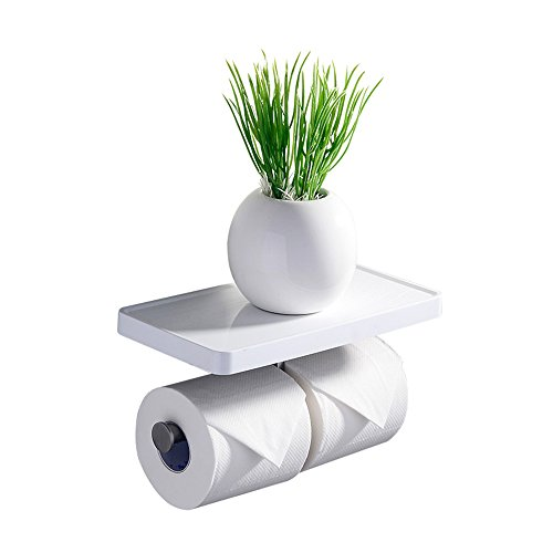 CRW Double Toilet Roll Holder With Shelf White Chrome Wall Mounted Storage  Shelf For Bathroom, Stainless Steel ASC01
