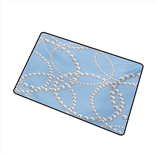 Kinhevao Perlen Haustür Matte Teppich Perlen Halskette Armband Klassische Frauen Braut Bräutigam Dusche Thema Feminine Kunst Maschine waschbar Fußmatte, Baby blau weiß Badematte