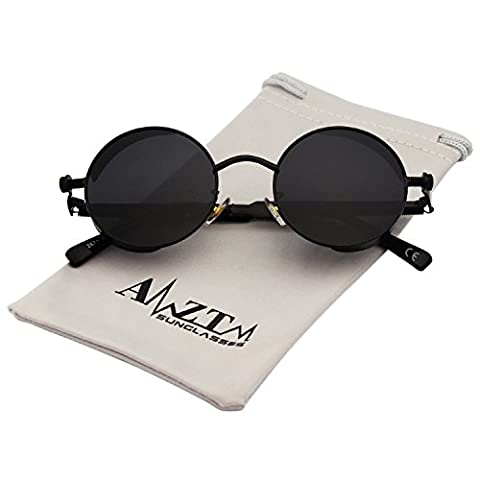 AMZTM Small Round Metal Frame Mirrored Reflective Lens Polarized Women and Men Steampunk Sunglasses (Black Frame and Grey Lens, 48)