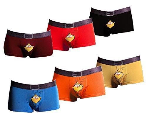 DAN@ ropa interior de fibra de bambú atractivo para hombre de los hombres puros de color de alta calidad de los boxeadores de 3-6pcs / juego mucho (CN:XL (ES:L), 6 pc s)