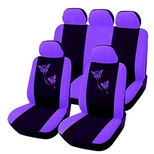 WAVENI Butterfly Embroidered Seat Cover Universelle Sitzbezüge für Autositze (Color : Purple) (Sitzbezüge Butterfly)