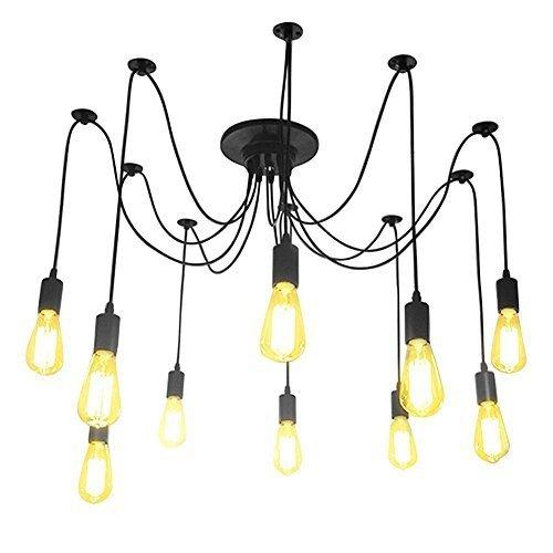 Lightess lampadario vintage per soffitto, a forma di ragno con bracci pendenti, massimo 60w per ogni lampadine e27