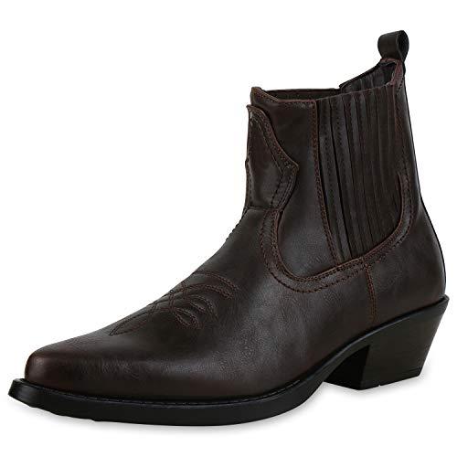 SCARPE VITA Herren Cowboy Boots Western Stiefel Spitze Schuhe Holzoptikabsatz 172487 Dunkelbraun 40