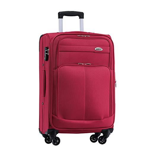 BEIBYE 4 Rollen Reisekoffer 3tlg.Stoffkoffer Handgepäck Kindergepäck Gepäck Koffer Trolley Set-XL-L-M (Weinrot, XL-Großer Koffer-74cm) -