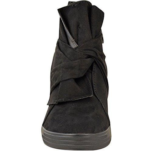 Baskets mi-hautes - talon compensé haut - noeud décoratif - femme Faux suède noir/classique