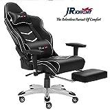 JR Knight Gaming Chair Pro, ergonomique Chaise de bureau à domicile Racing de luxe avec lombaire Taie d'oreiller et repose-pieds Tabouret, Gamer Motif fauteuil en cuir...