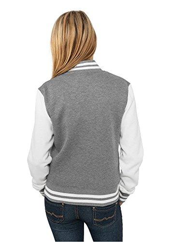 Urban Classics TB218 Damen Jacke Ladies 2-tone College Sweatjacket Mehrfarbig(gry/wht)