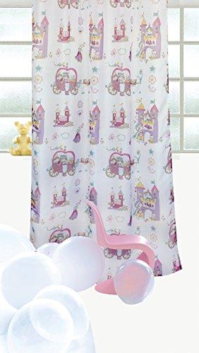 (Prinzessin Prinz Schloss - Schlaufengardine Dekoschal Gardine Vorhang Schlaufenschal Deko fürs Kinderzimmer - 145 x 245 cm - in 2 Designs: Weiss von Brandseller)