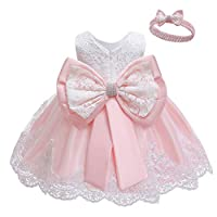 LZH Baby Girl Dresses Bowknot Lace Pageant Party Wedding Flower Girl Dress