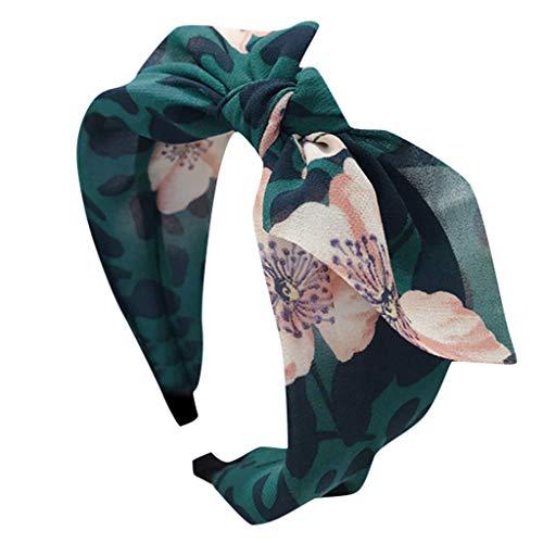 CANDLLY Stirnband Damen, Kopfschmuck Zubehör Mode Lässig Leopard Blumen Stoff Bogen Stirnband mit Breitem Rand Kristall Haarband Head Wrap Haarbands Zubehör Kopfbedeckung