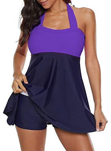 ALICECOCO Damen Pin-Up Bikini Sets Neckholder Einteilige Bademode mit integriertem Rock(FBA) (EU 42--44 ( 3XL ), Lila)