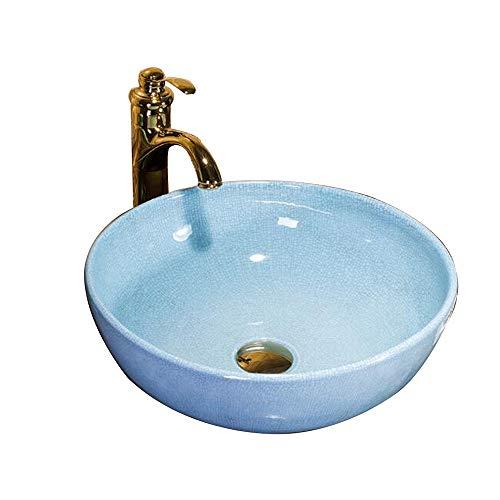 Keramik-waschtisch Top (MICOKY Waschtisch counter top blau runde keramik toilette hotel badezimmer zubehör wasserhahn über gegenkunst becken waschbecken)