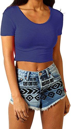 Re Tech UK Damen Kurzärmlig Bauchfreies Top Mode T-Shirt Rundhals Sommer Größen 8-14 Marineblau