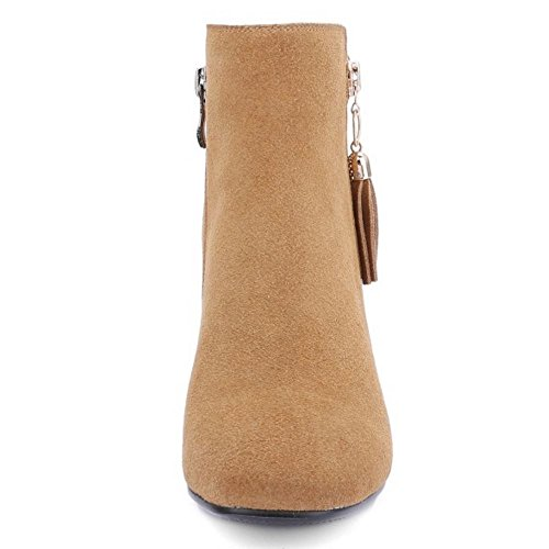 TAOFFEN Damen Stiefeletten Reißverschluss Blockabsatz Spitze Toe Knöchelriemchen Gemütlich Gelb