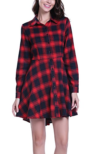 MISS MOLY Damen Langarmshirt Hemdkleid Shirtkleid Blusenkleid Schwarz/Rot - L