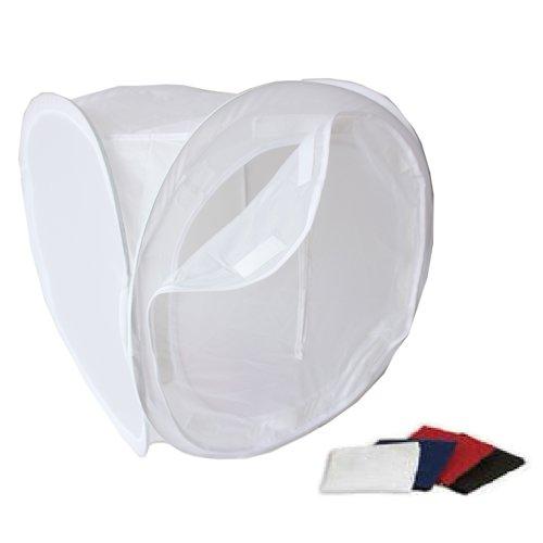 WISD Fotozelt Lichtzelt Würfel 50 x 50 x 50cm Fotostudio Aufnahme Zelt Lichtwürfel Diffusions Soft Box-Set mit 4 Farben-Hinter