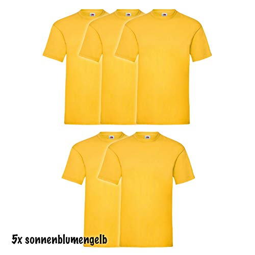 5 Fruit of the loom Kinder T-Shirts Valueweight 104 116 128 140 152 Diverse Farbsets auswählbar 100{3936a1dee3a530a7b2bd9dc4aec8b0ce8c18dafd97f036fc69332d0a01be40a3} Baumwolle (104, Sonnenblumengelb)