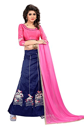 Aarvicouture Womens Satin Lehenga Choli (Checks_Embroidered _Multi Coloured _Free Size)